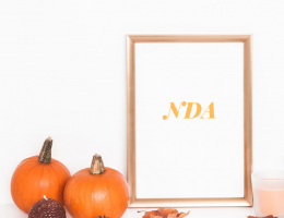 Picture frame with word NDA next to 2 pumpkins
